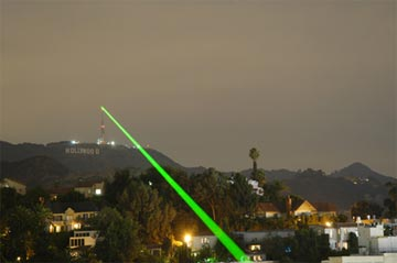 Laser pointed at Hollywood sign